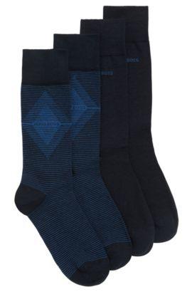 Set van twee paar sokken met normale lengte van een gekamde materiaalmix, Donkerblauw