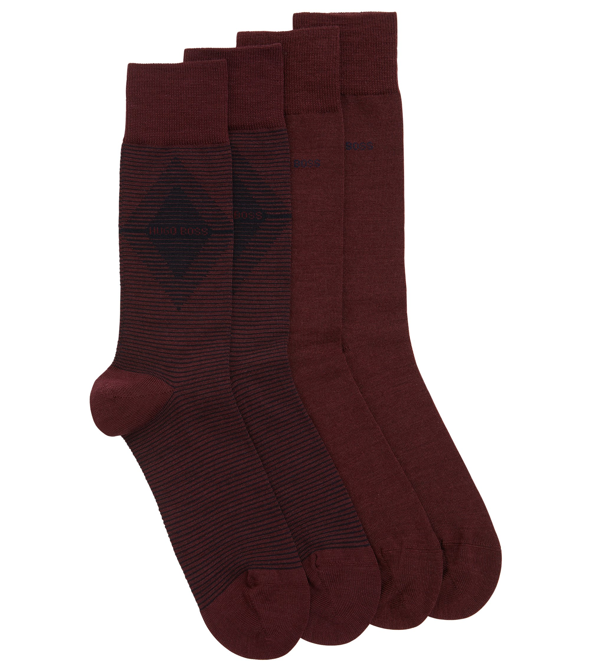 Two-pack of regular-length socks in combed fabric, Dark Red