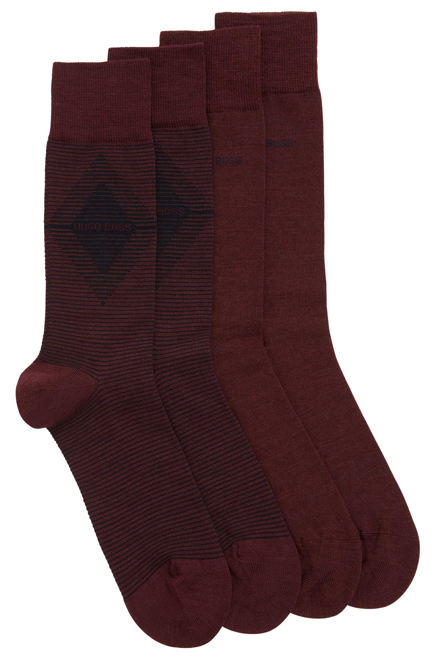 Lot de deux paires de chaussettes mi-hautes en tissu peigné