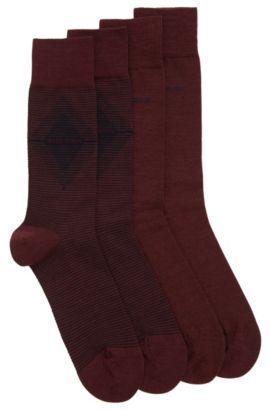 Lot de deux paires de chaussettes mi-hautes en tissu peigné, Rouge sombre