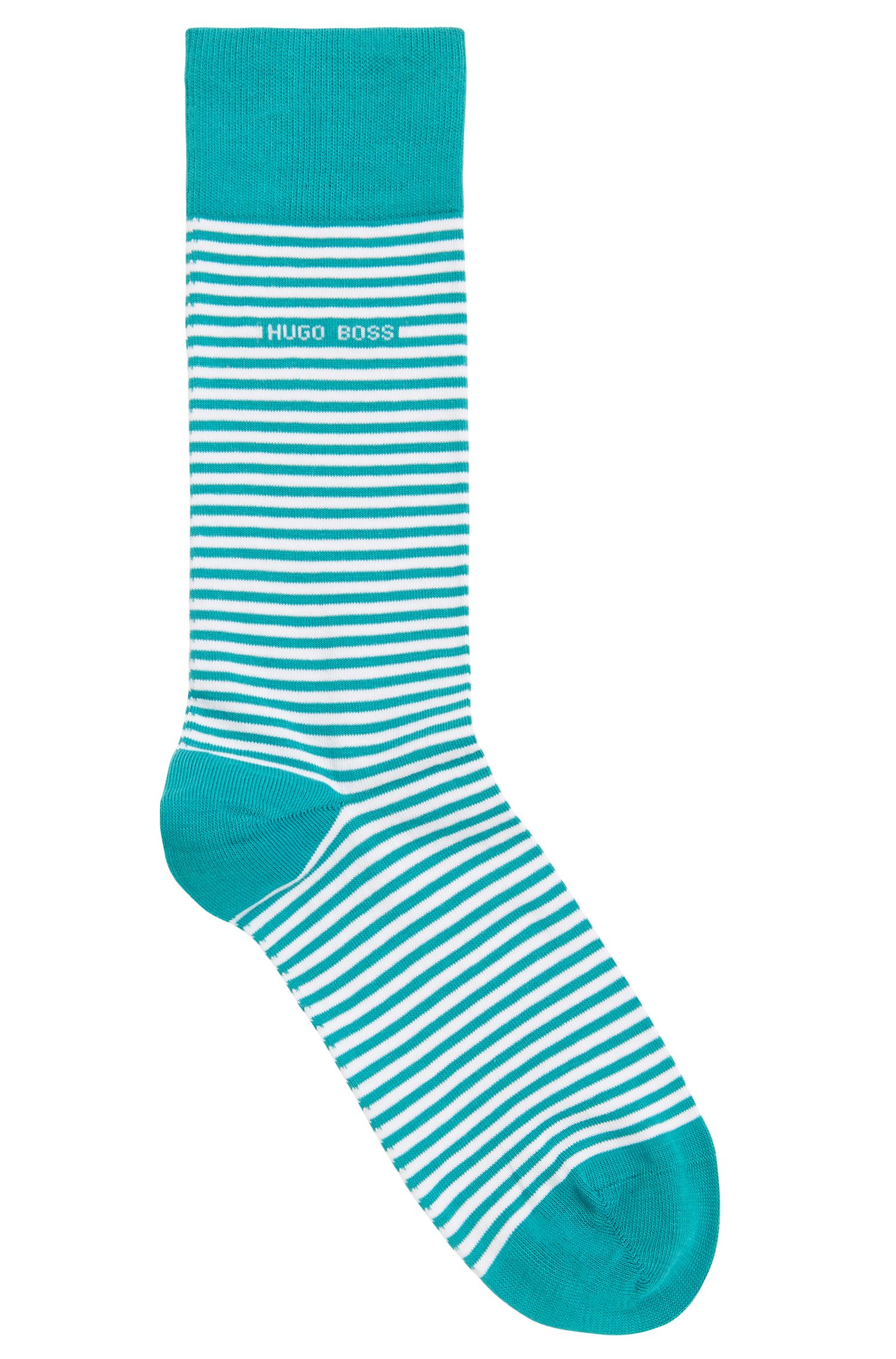 Striped stretch-cotton socks in a regular length, Green