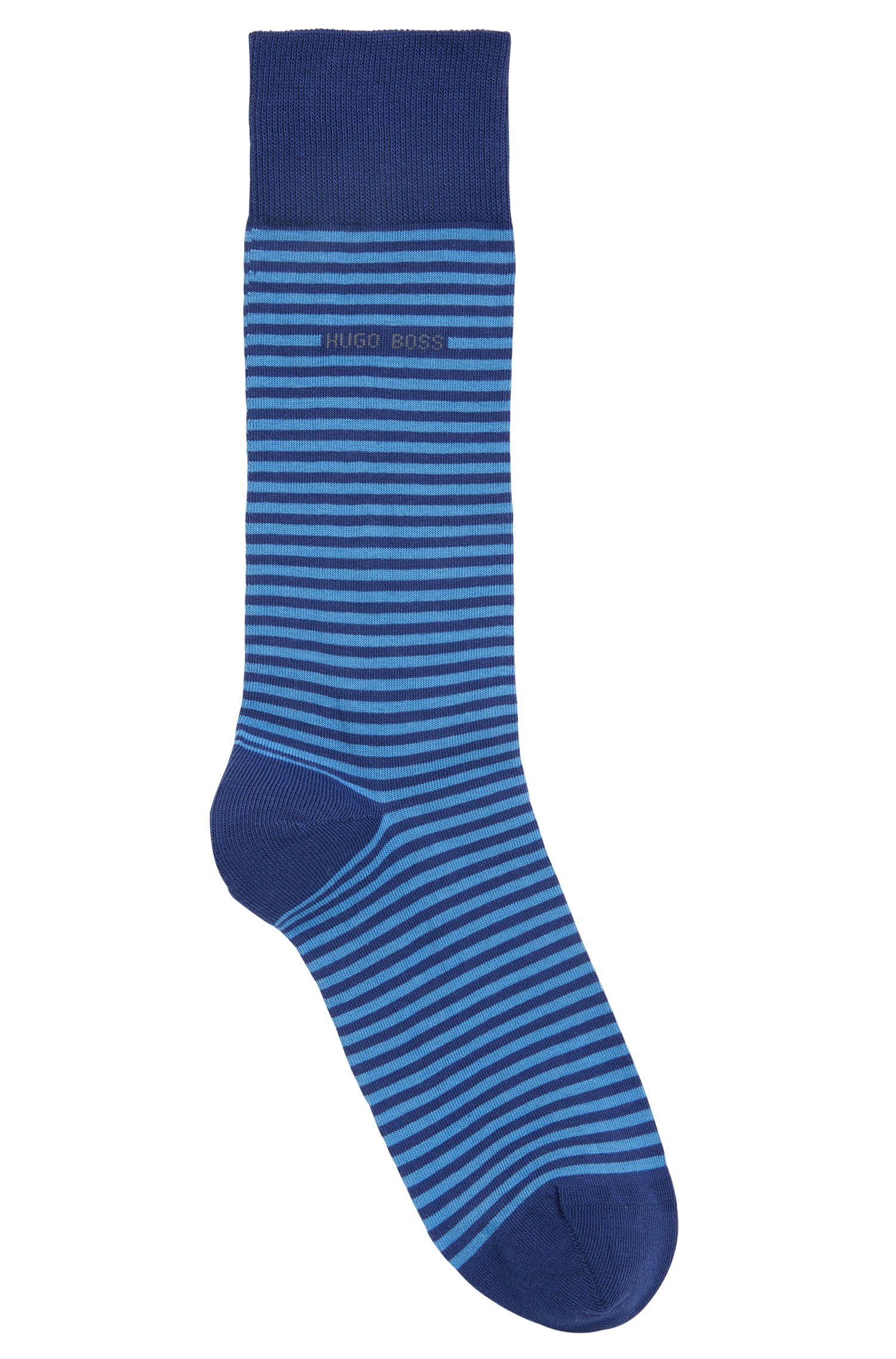 Striped stretch-cotton socks in a regular length