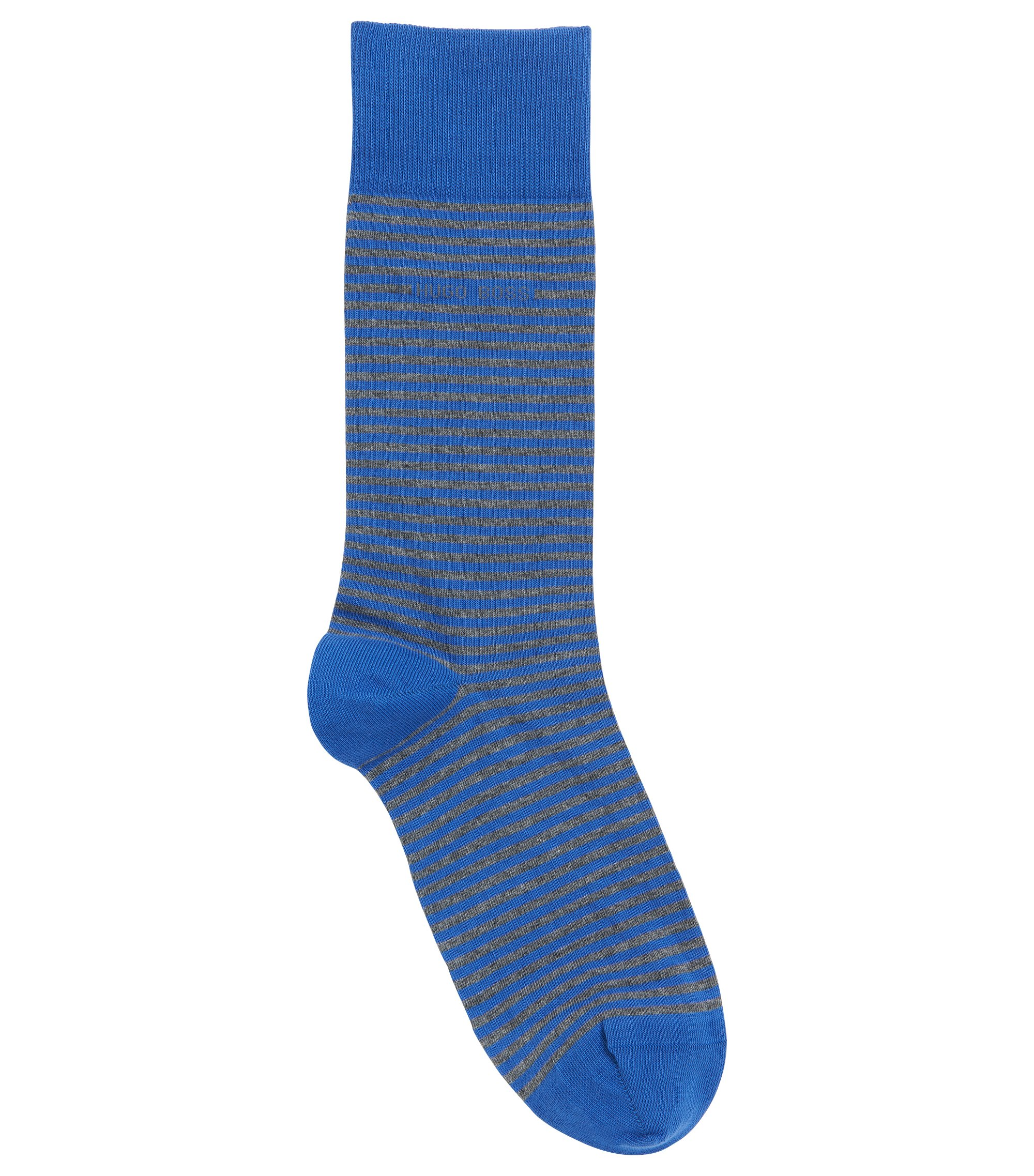 Striped stretch-cotton socks in a regular length, Blue