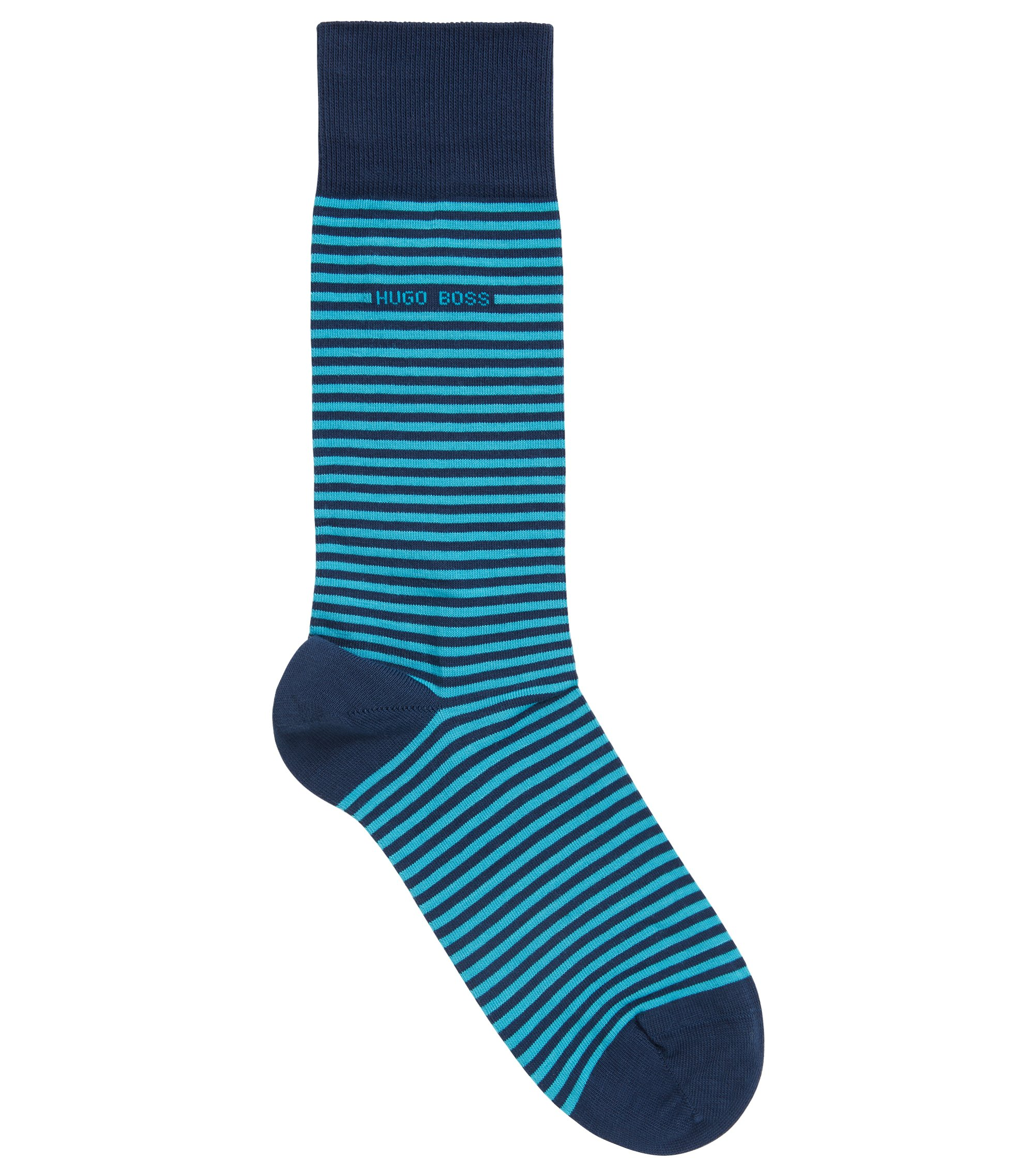 Striped stretch-cotton socks in a regular length, Turquoise