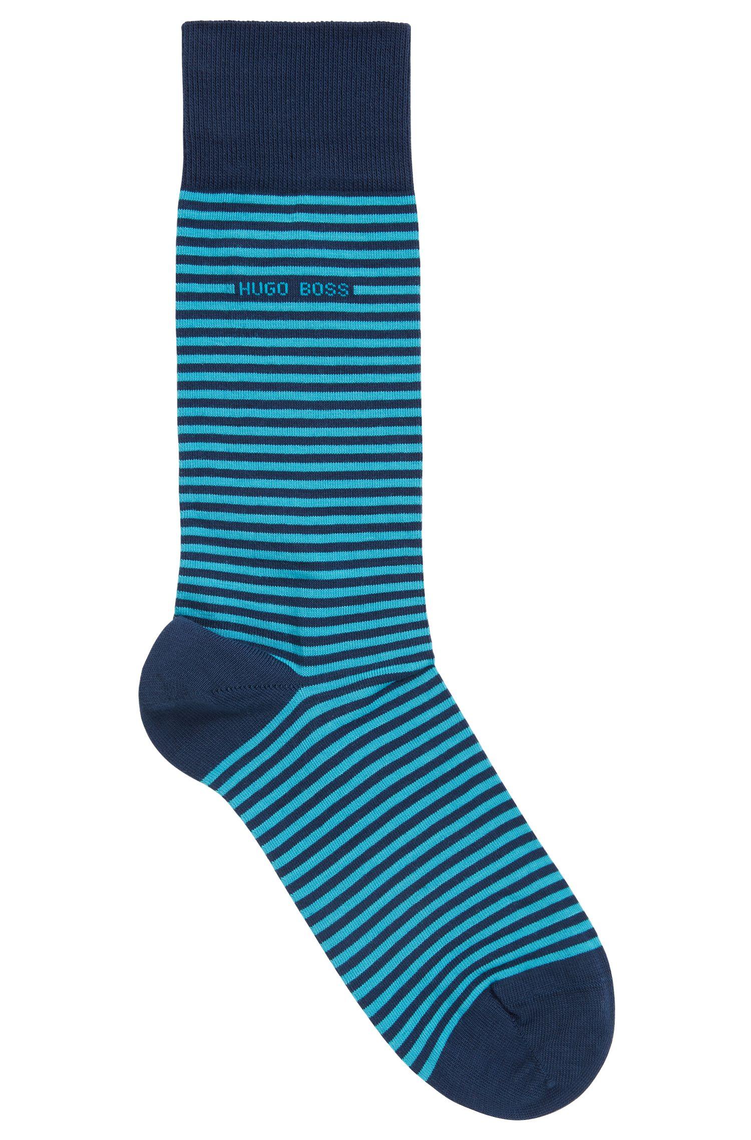 Striped stretch-cotton socks in a regular length