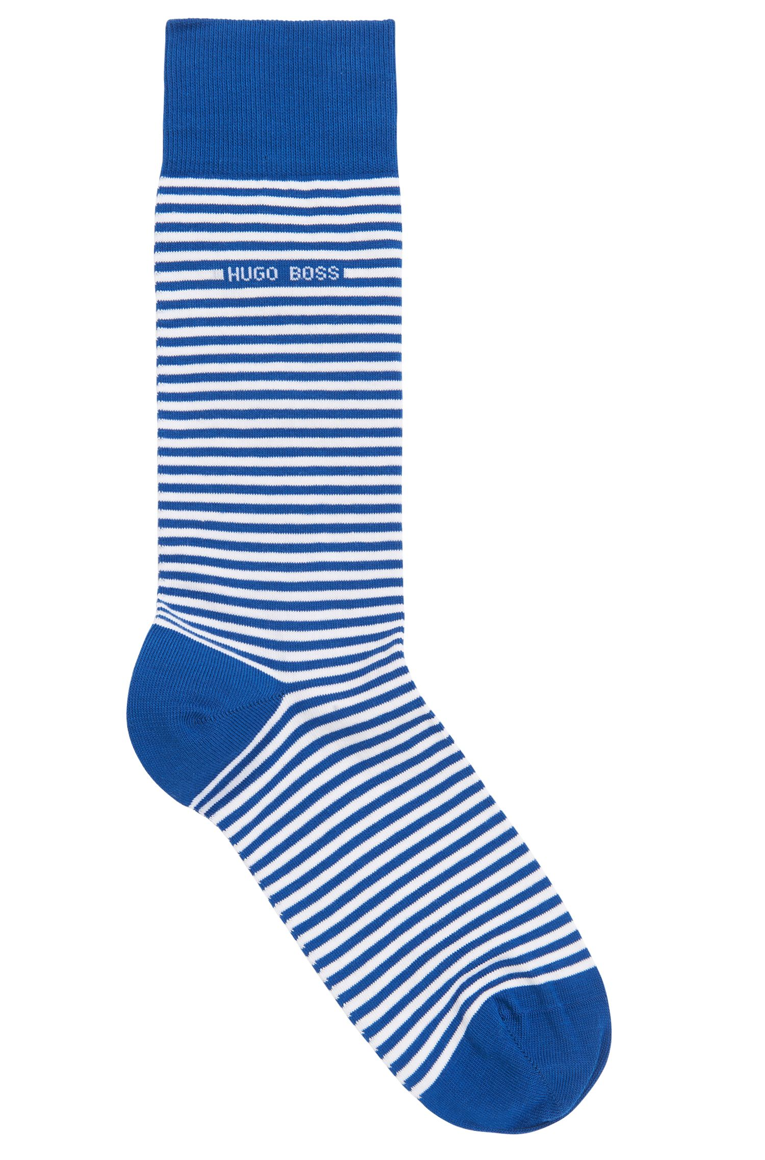 Striped stretch-cotton socks in a regular length, Open Blue