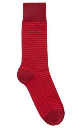 Chaussettes mi-mollet en coton stretch à rayures, Rouge sombre