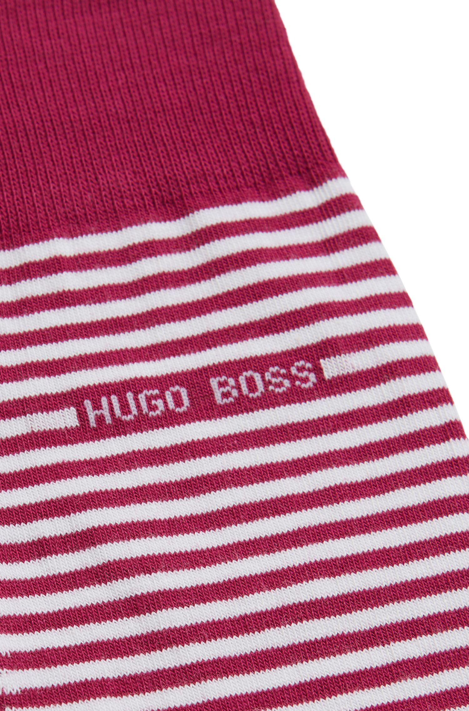 Striped stretch-cotton socks in a regular length, Red