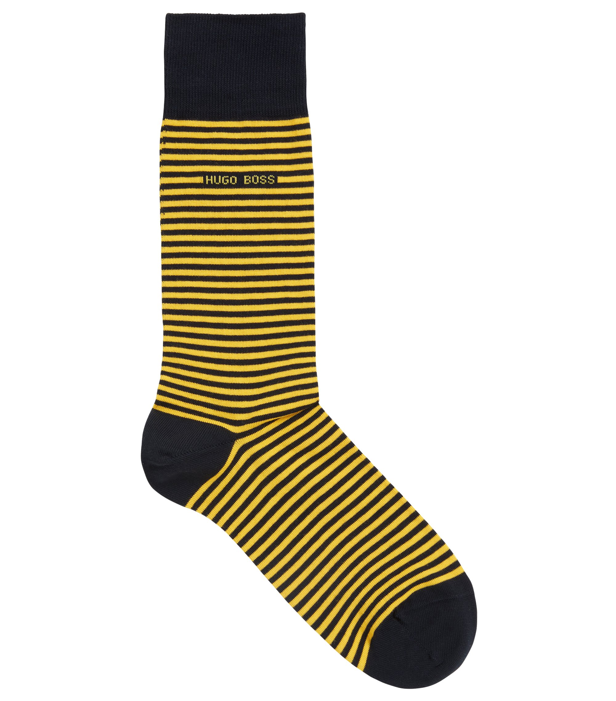 Striped stretch-cotton socks in a regular length, Yellow