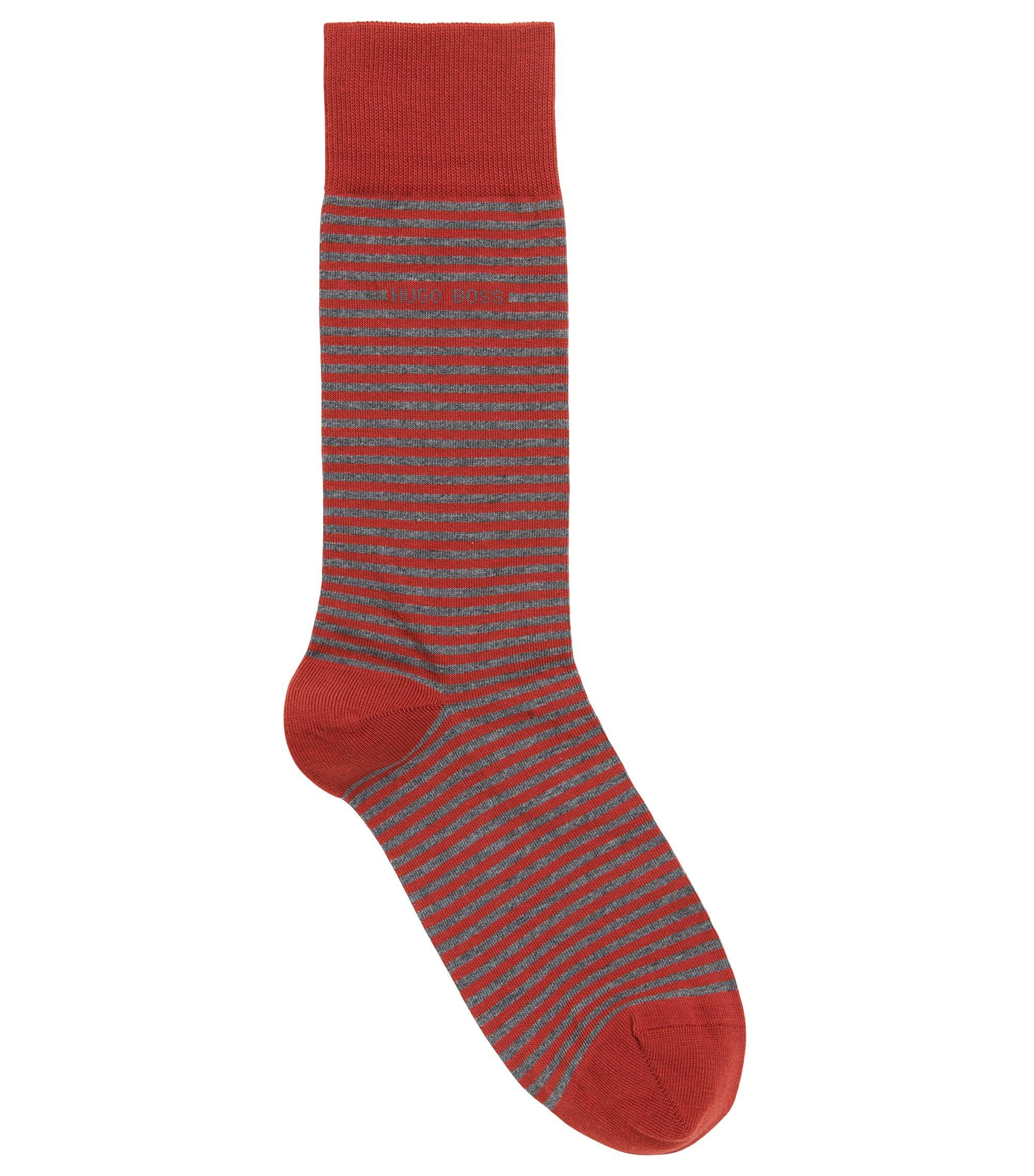 Gestreepte sokken van stretchkatoen met normale lengte, Donkeroranje