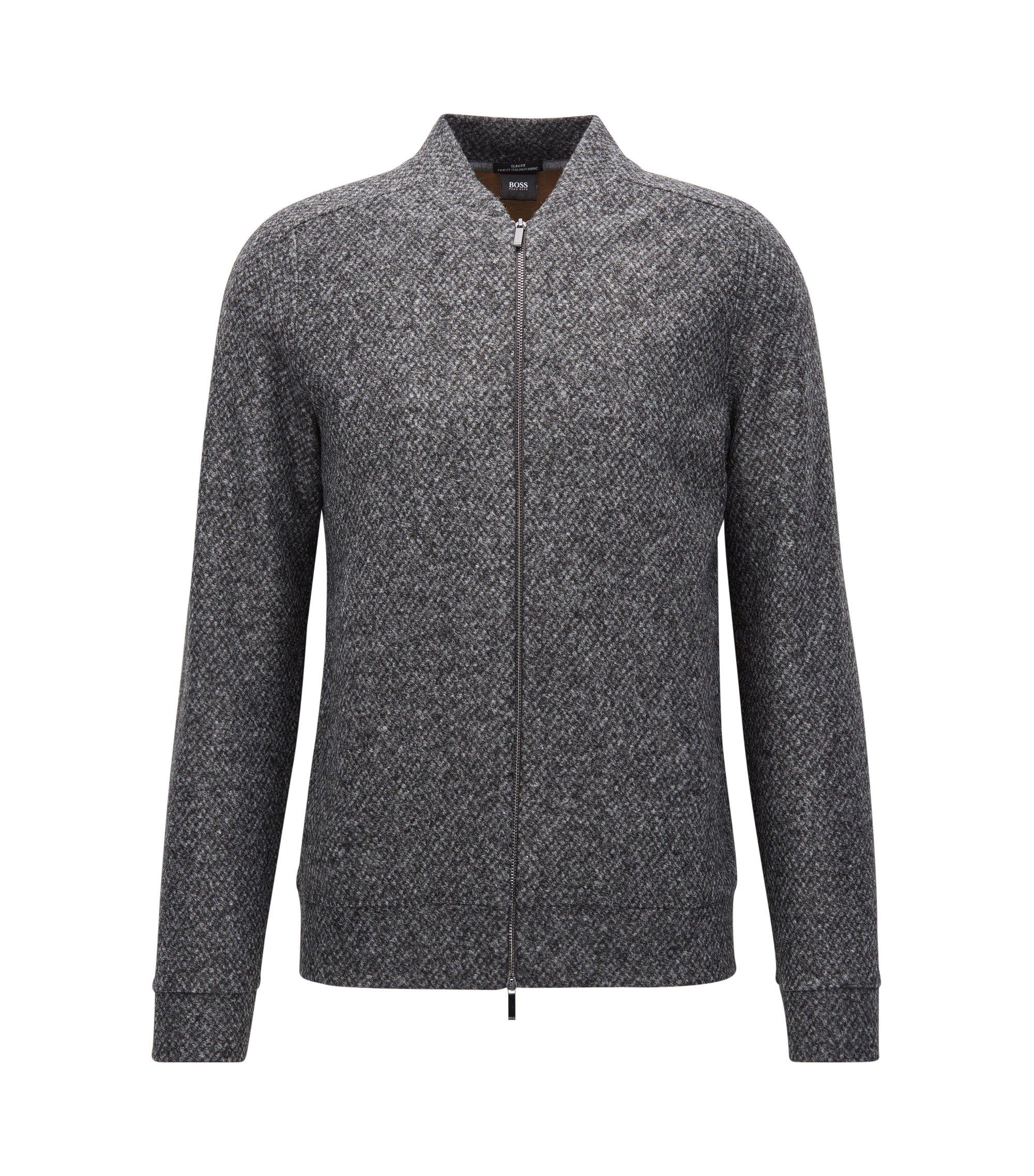 Slim-fit zip-through sweatshirt in structured Italian fabric, Grey