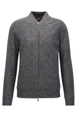 Slim-fit zip-through sweatshirt in structured Italian fabric, Grey