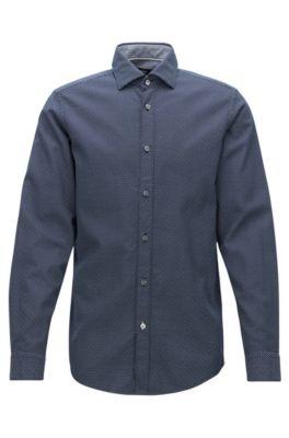 Regular-fit shirt in printed cotton, Dark Blue