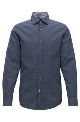 Camicia regular fit in cotone stampato, Blu scuro