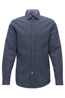 Regular-Fit-Hemd aus bedruckter Baumwolle, Dunkelblau