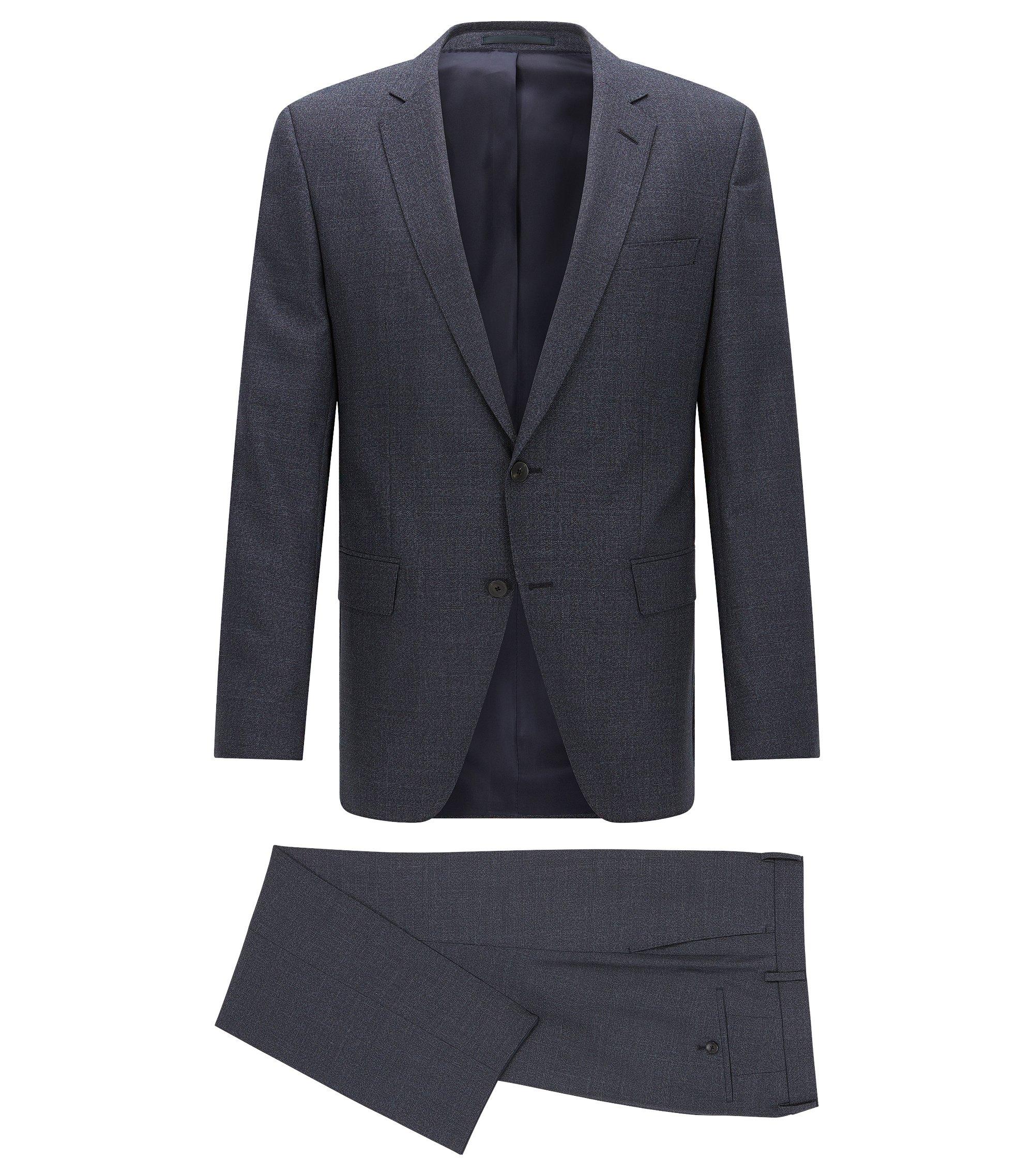 Traje slim fit jaspeado en lana virgen, Azul oscuro