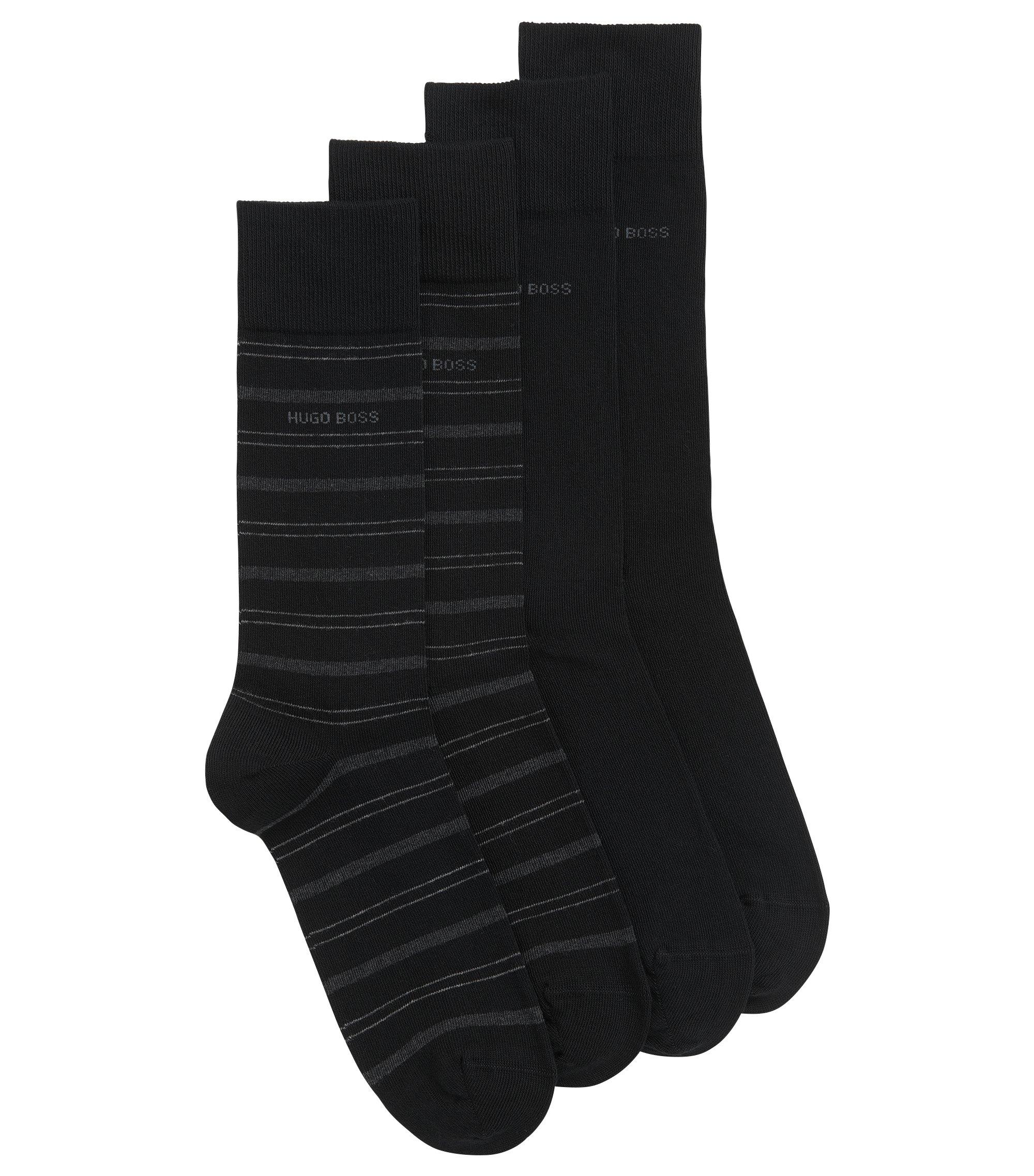 Set van twee paar sokken van een katoenmix met normale lengte, Zwart