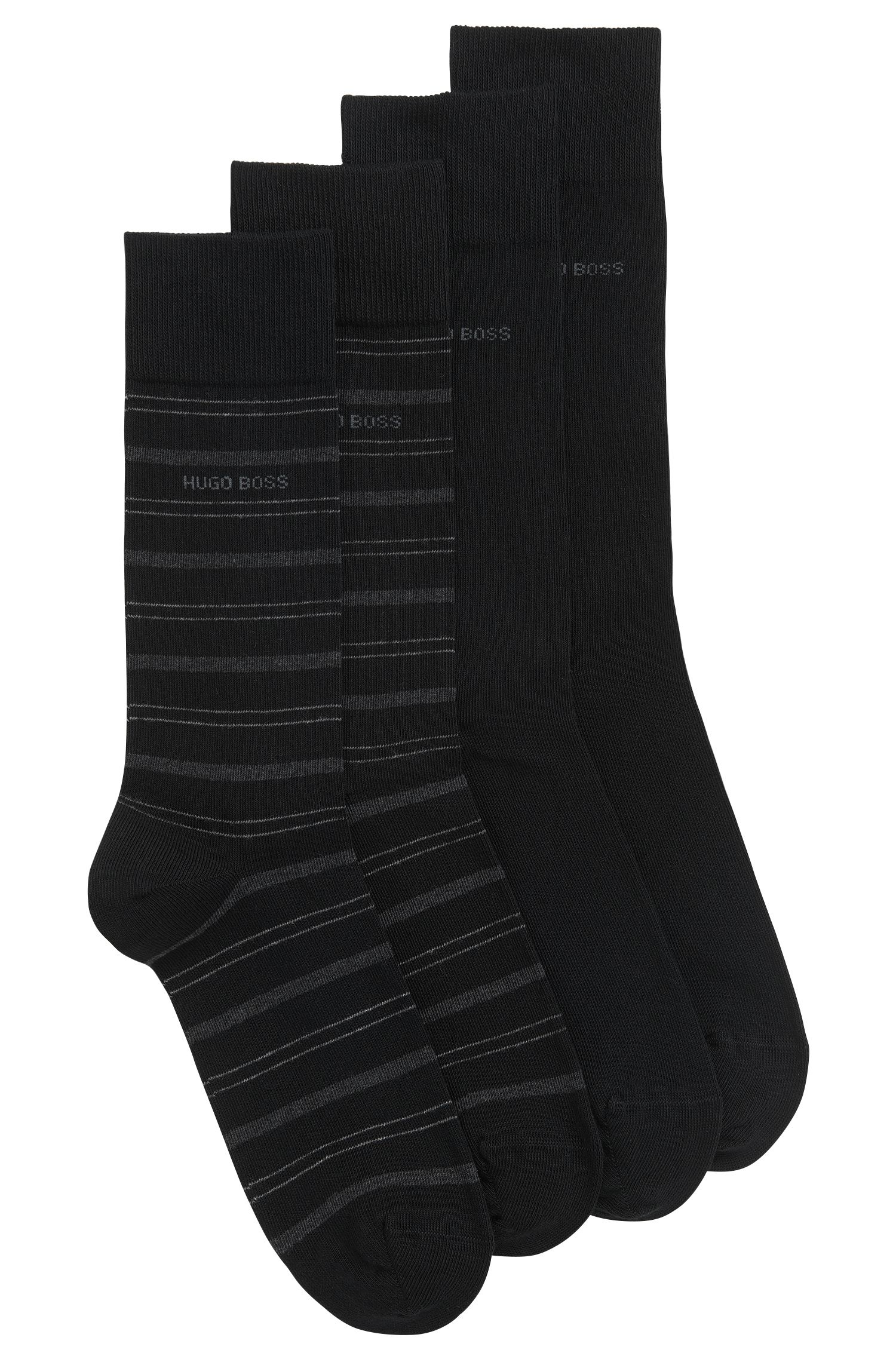 Lot de deux paires de chaussettes mi-hautes en coton mélangé