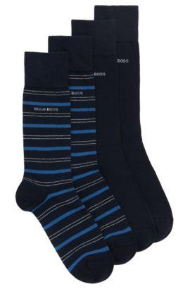 Lot de deux paires de chaussettes mi-hautes en coton mélangé, Bleu foncé