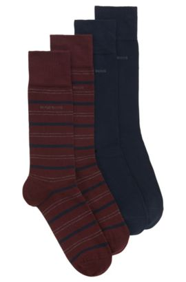 Two-pack of regular-length socks in a cotton blend, Dark Red