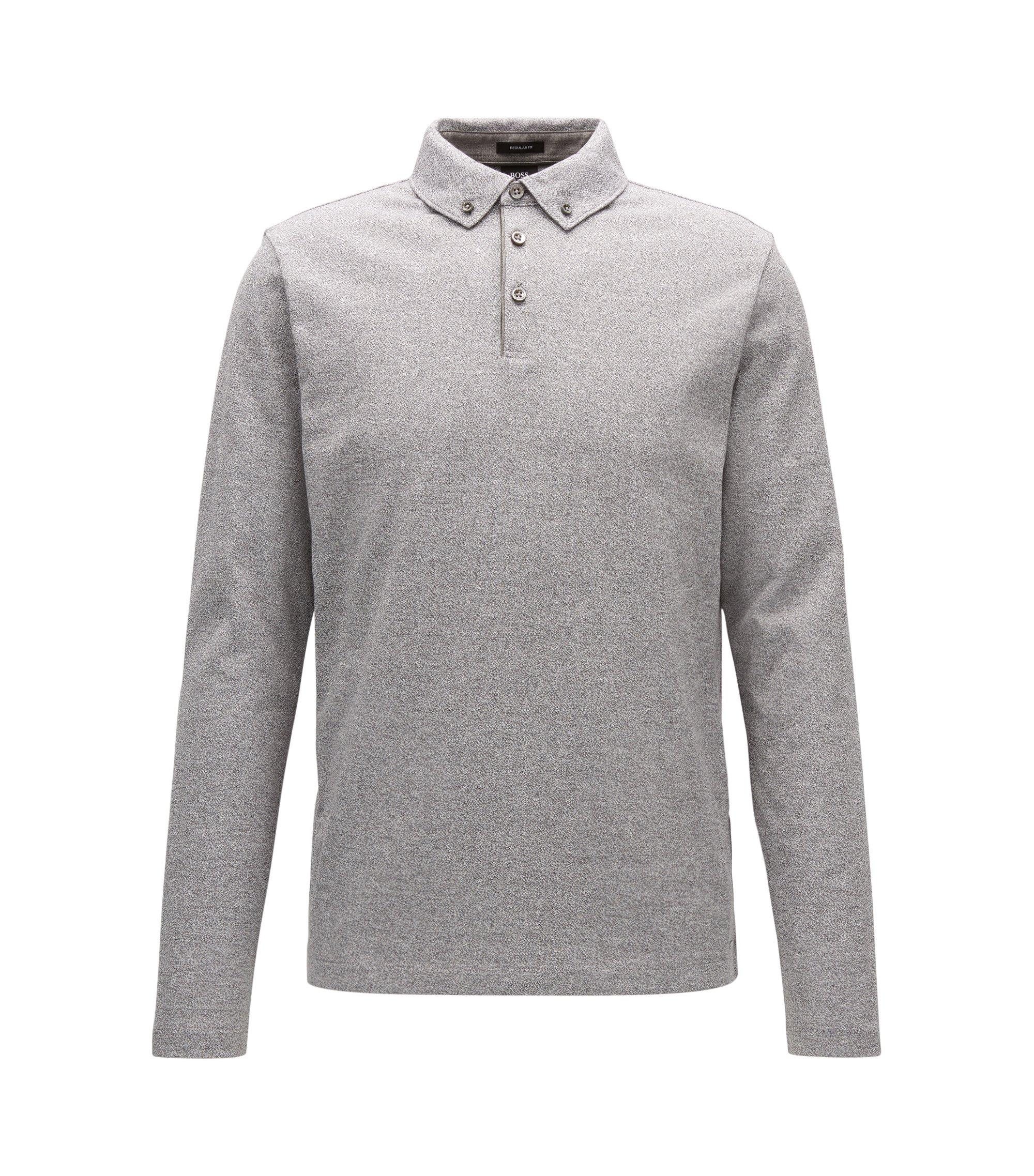 Polo regular fit in cotone jacquard con colletto button-down, Grigio chiaro