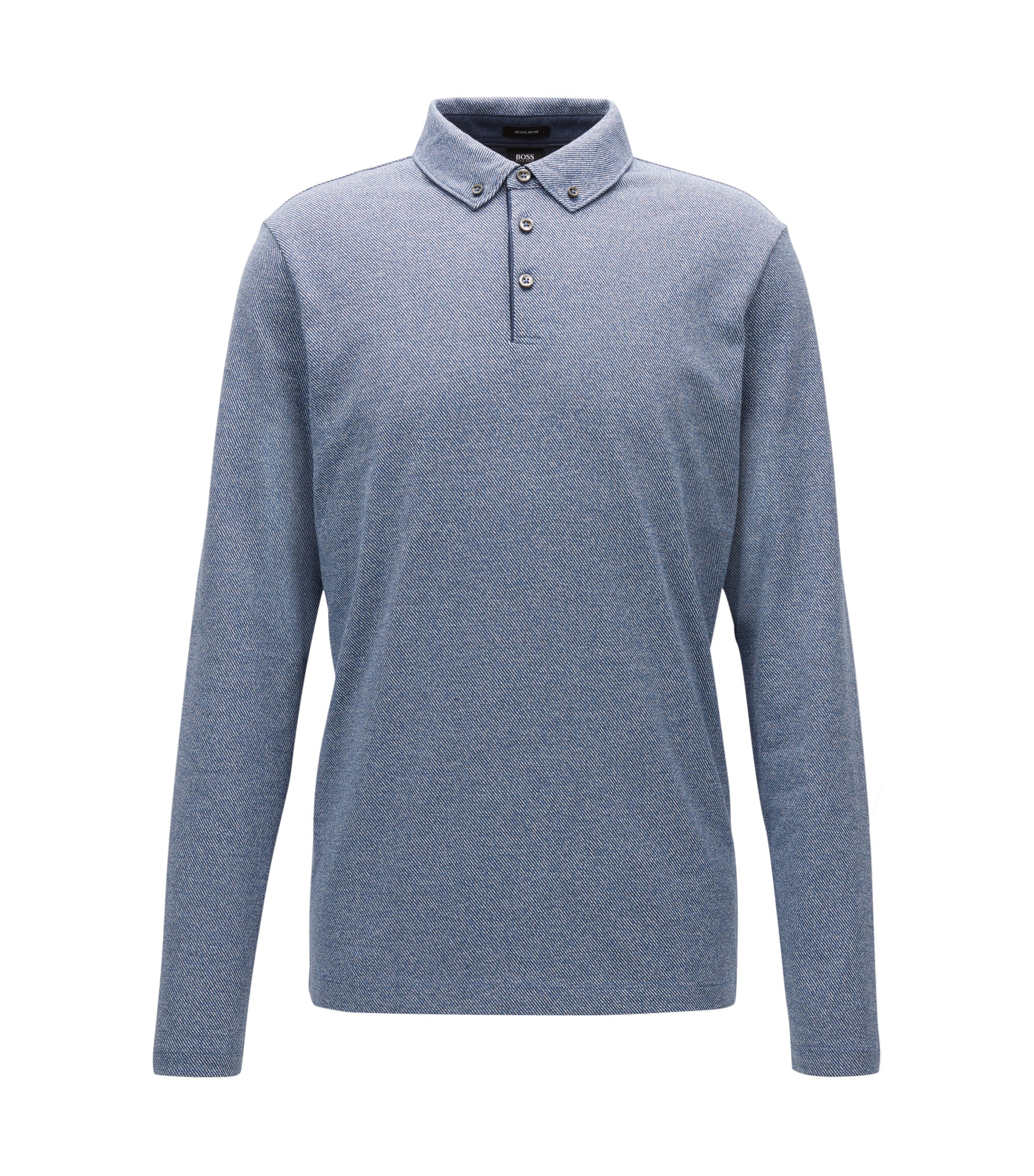 Regular-Fit Longsleeve-Poloshirt aus Baumwolle mit Button-Down-Kragen, Blau