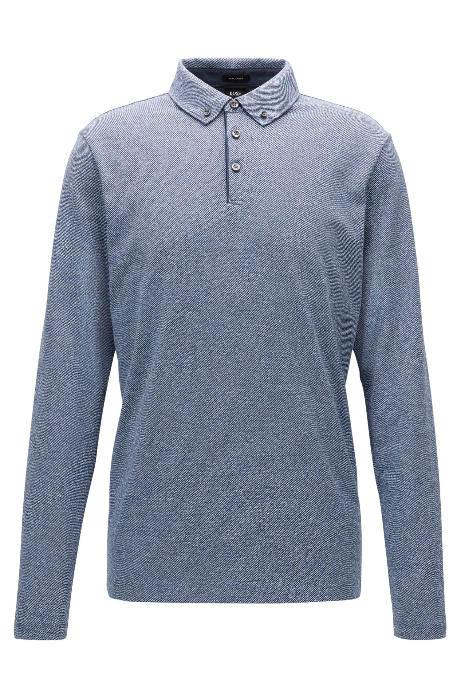 Regular-Fit Longsleeve-Poloshirt aus Baumwolle mit Button-Down-Kragen