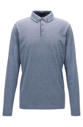 Polo Regular Fit en jacquard de coton à col button-down, Bleu