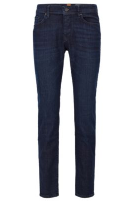 Jeans Tapered Fit en twill denim 3x1, Bleu foncé