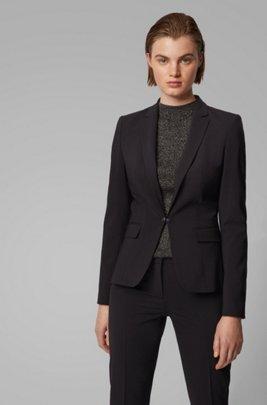 Regular-fit jacket in Italian stretch wool, Zwart