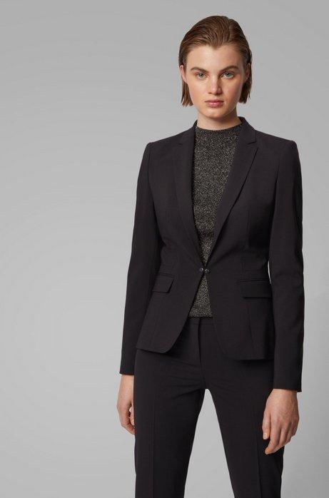 Regular-fit jacket in Italian stretch wool, Noir