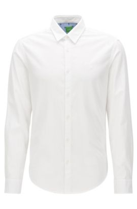 Chemise Oxford Regular Fit en coton à détails sportifs, Blanc