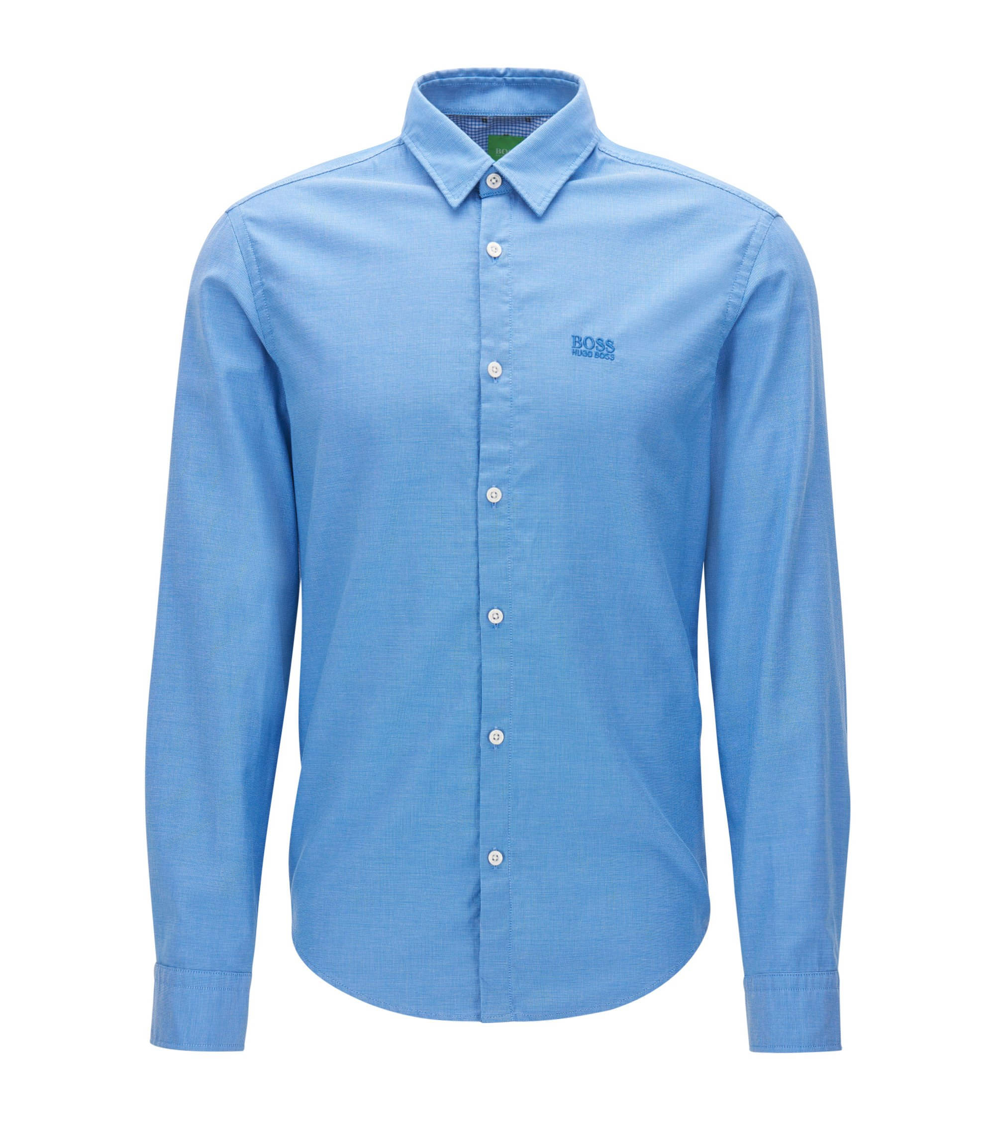 Chemise Oxford Regular Fit en coton à détails sportifs, Bleu