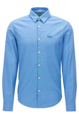 Regular-fit Oxford cotton shirt with sporty details, Blue