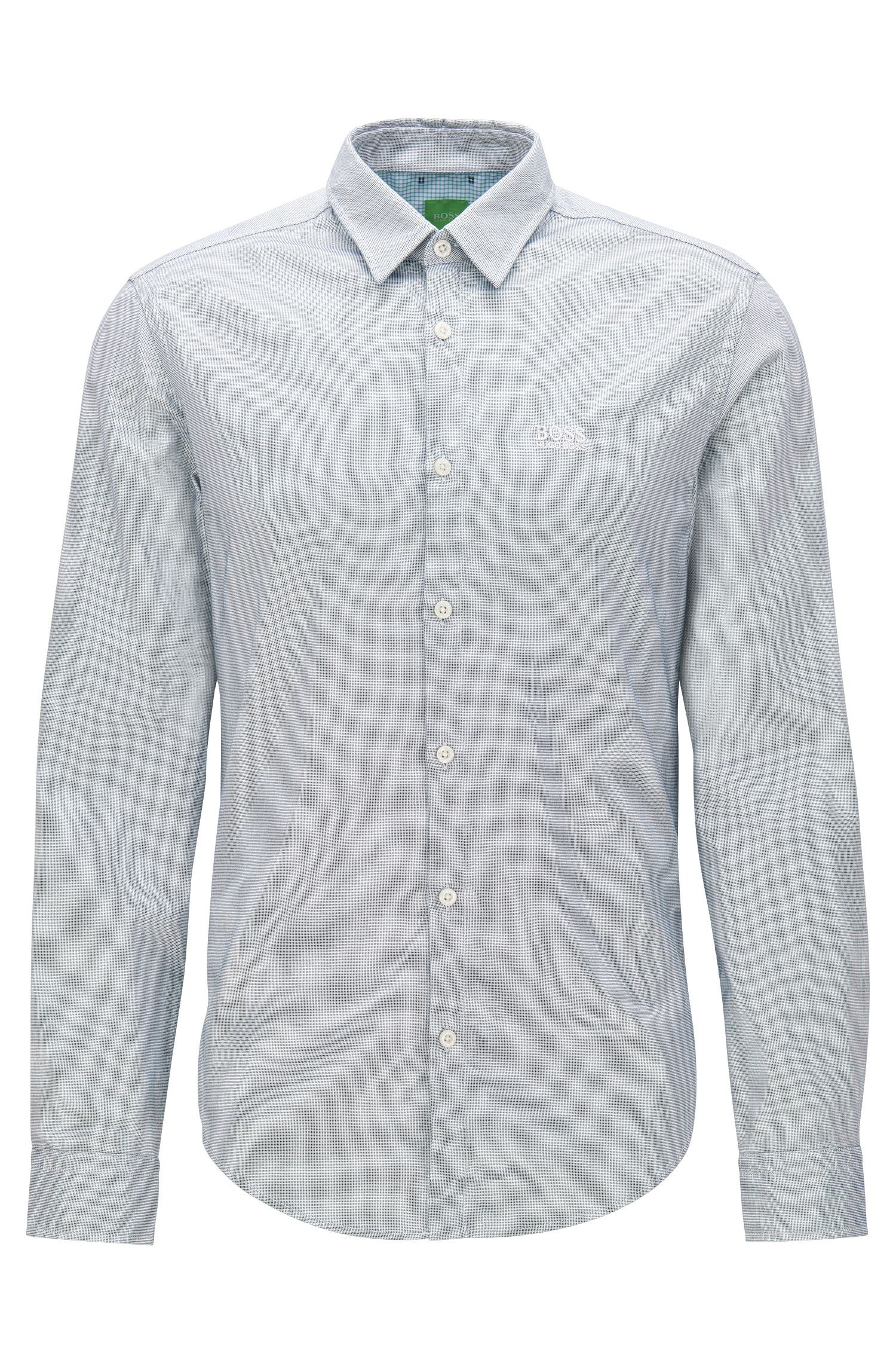Regular-fit Oxford cotton shirt with sporty details