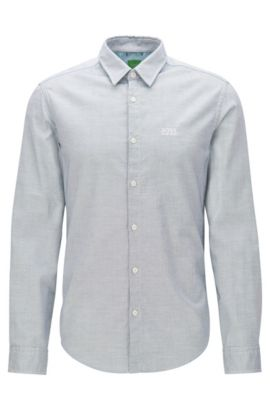 Regular-fit Oxford cotton shirt with sporty details, Light Blue