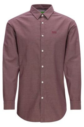 Regular-fit Oxford cotton shirt with sporty details, Red