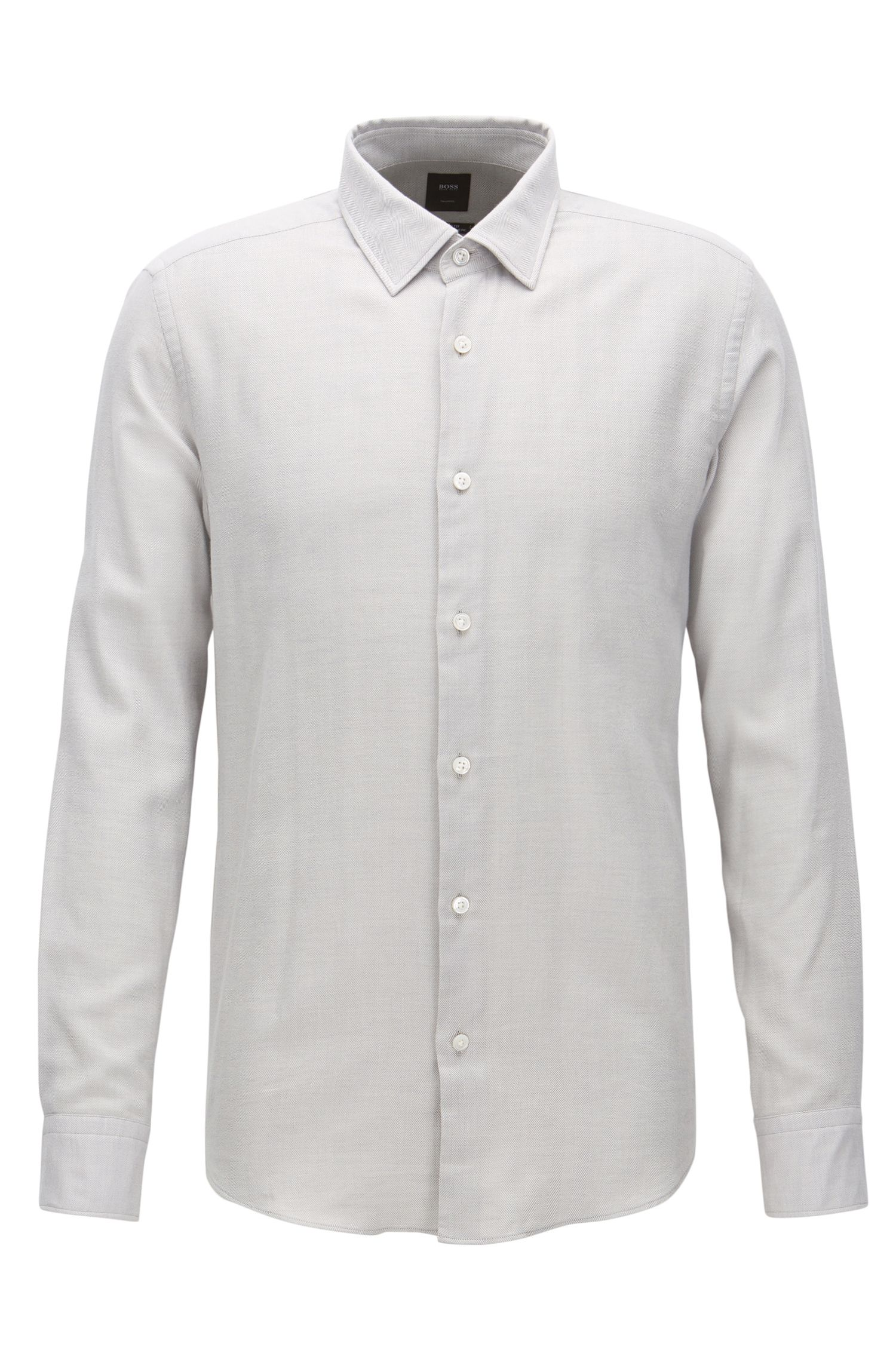 Regular-fit shirt in a herringbone-structure cotton blend
