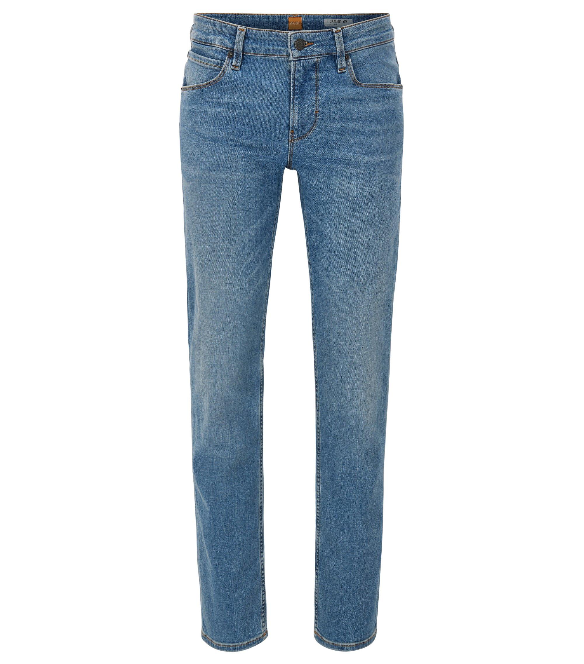 Jeans slim fit in twill di denim 3x1, Blu