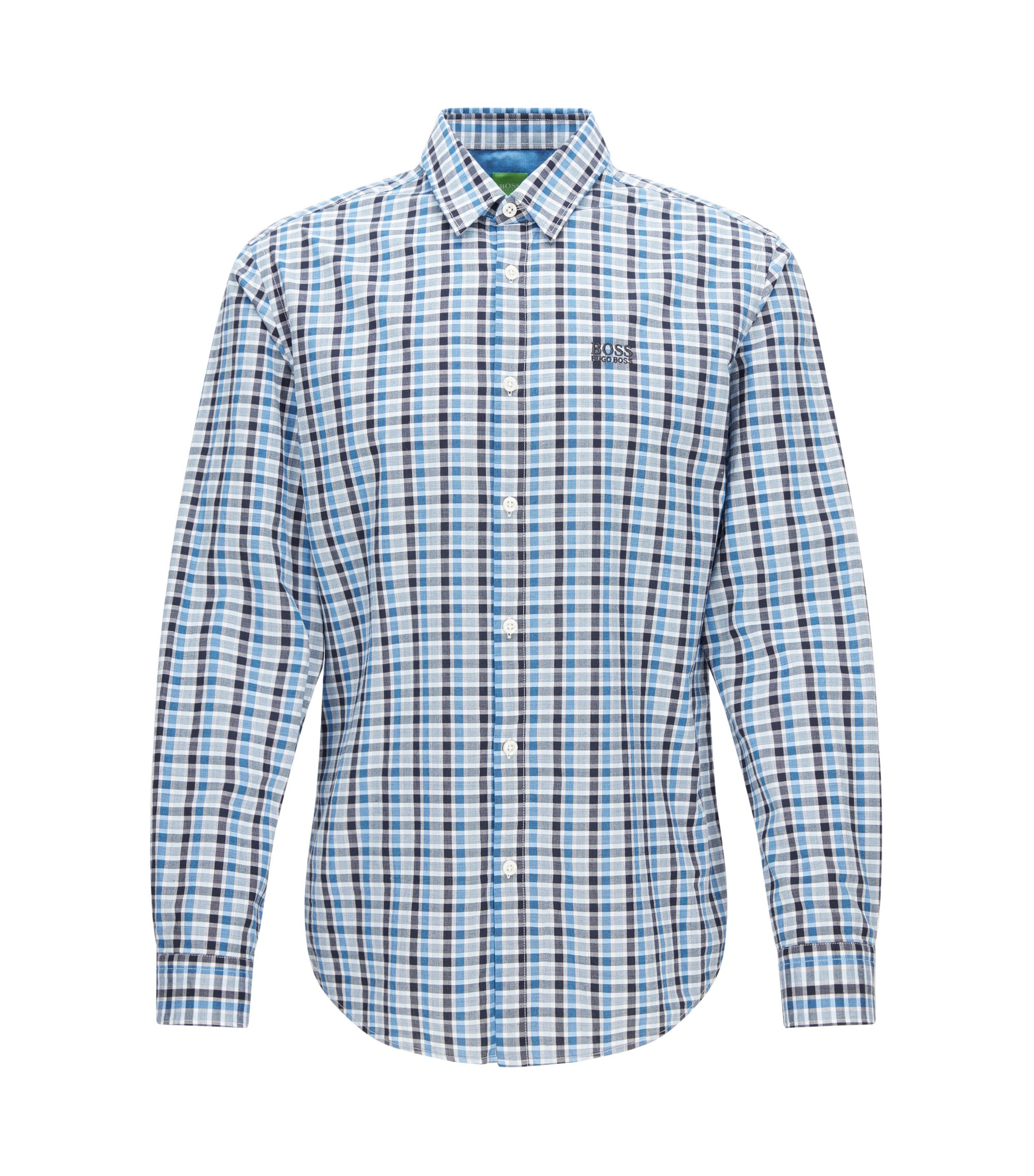 Regular-fit geruit overhemd van zachte katoen, Bedrukt
