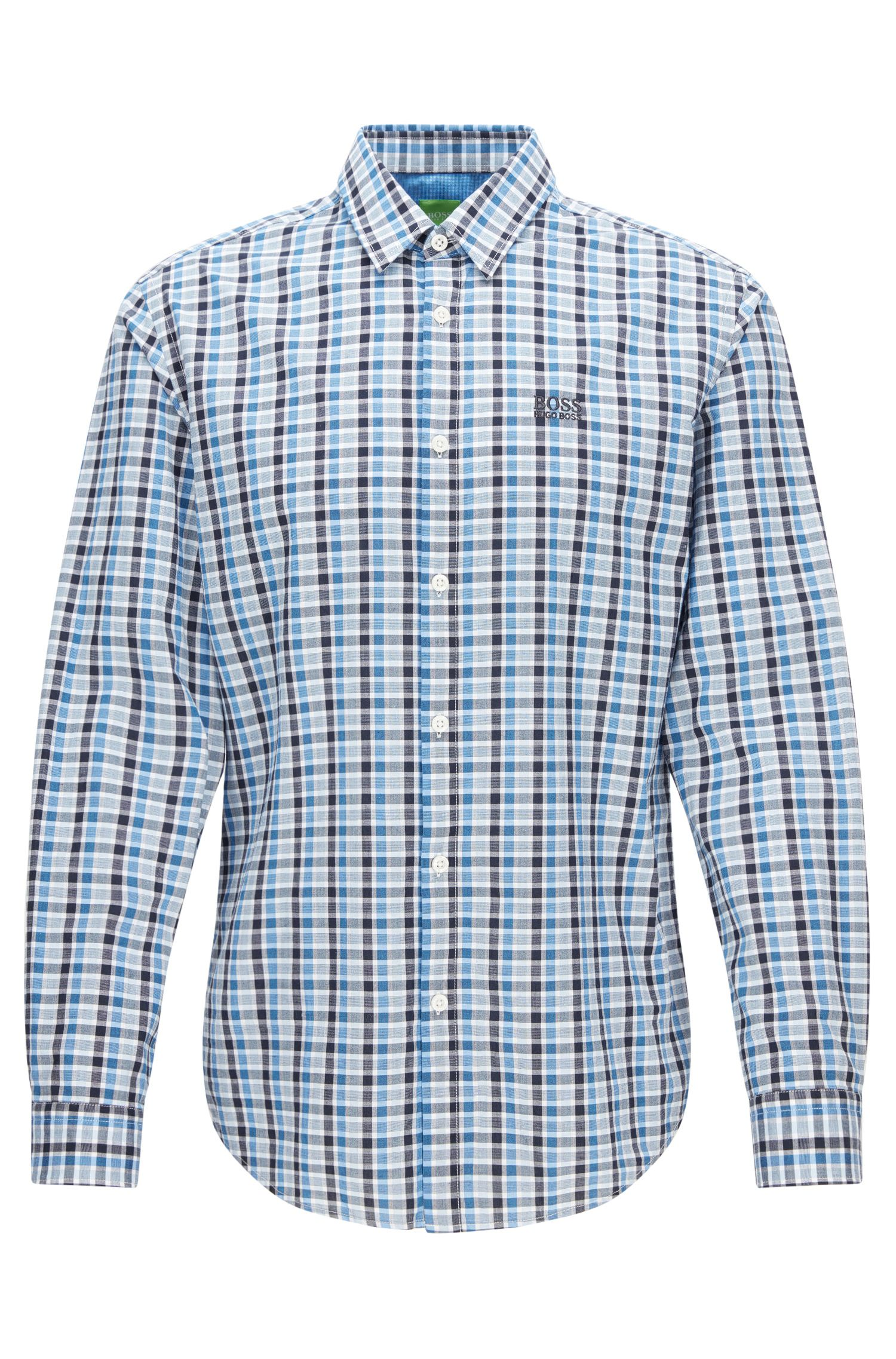 Regular-fit checked shirt in peached cotton