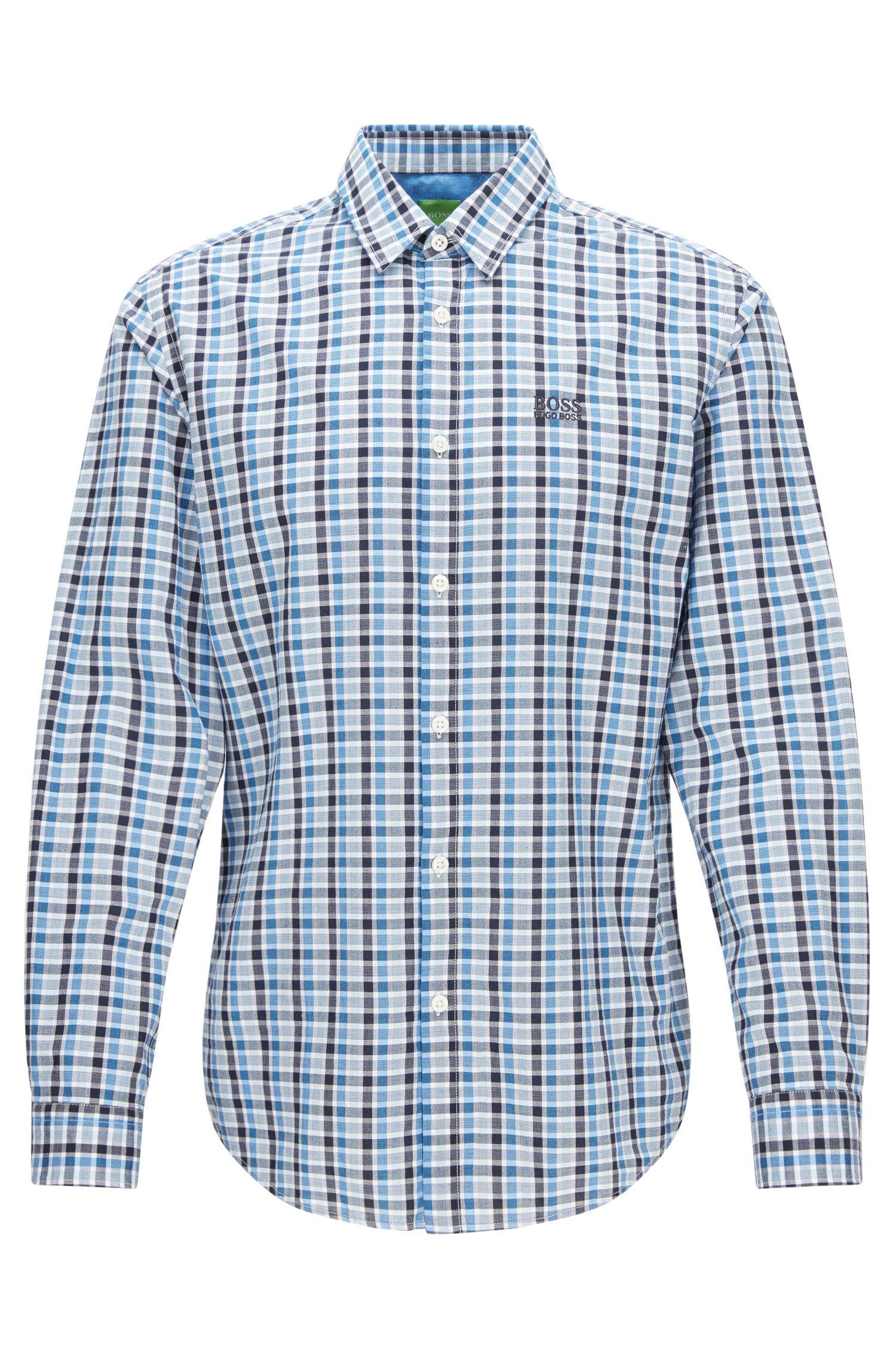 Chemise à carreaux Regular Fit en coton peau de pêche