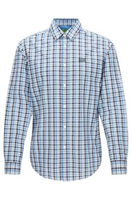 Regular-fit checked shirt in peached cotton, Patterned