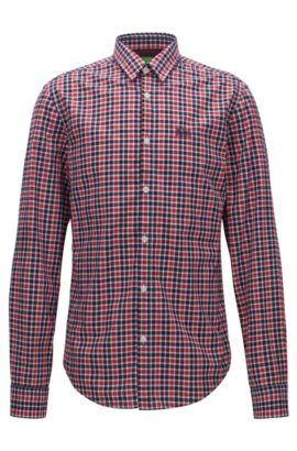 Kariertes Regular-Fit Hemd aus Baumwolle, Gemustert