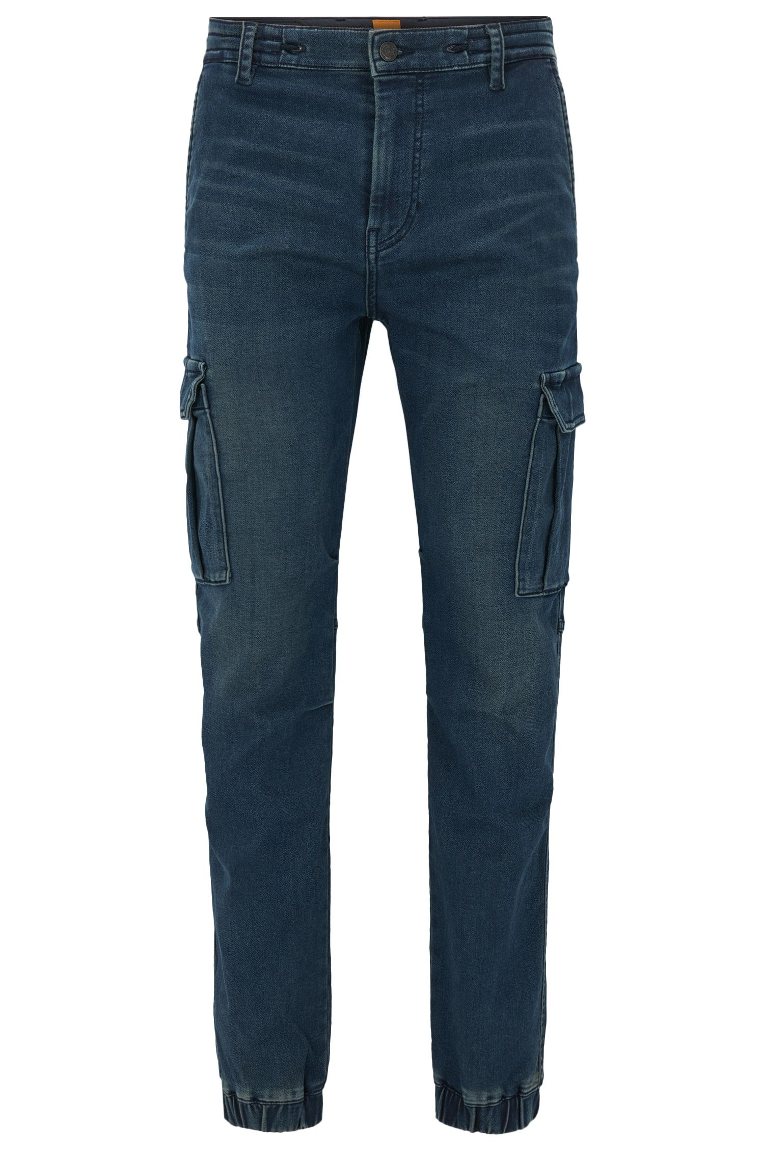 Knitted-denim tapered-fit jeans with cargo details