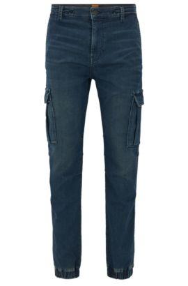 Tapered-fit jeans van gebreid denim met cargodetails, Donkerblauw