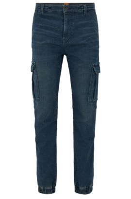 Knitted-denim tapered-fit jeans with cargo details, Bleu foncé