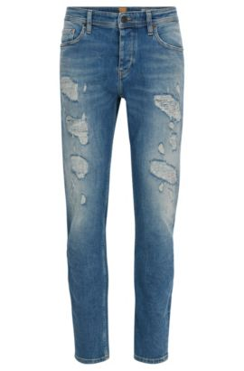 Jeans tapered fit in comodo denim elasticizzato, Turchese