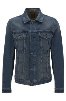Slim-Fit Jacke aus elastischem, gestricktem Baumwoll-Mix, Dunkelblau