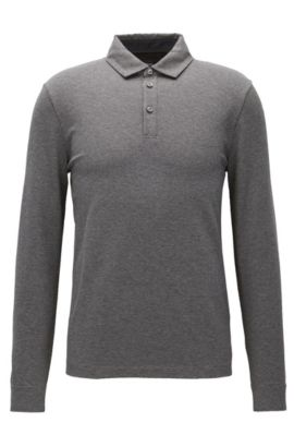 Long-sleeved slim-fit polo shirt in a cotton jacquard , Grey